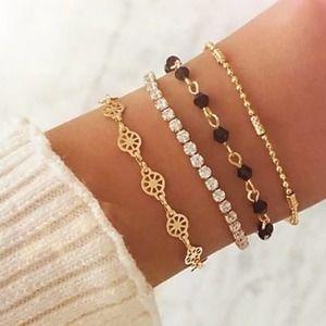 ETTA 4 Piece Bracelet Set Gold Tone Rhinestone